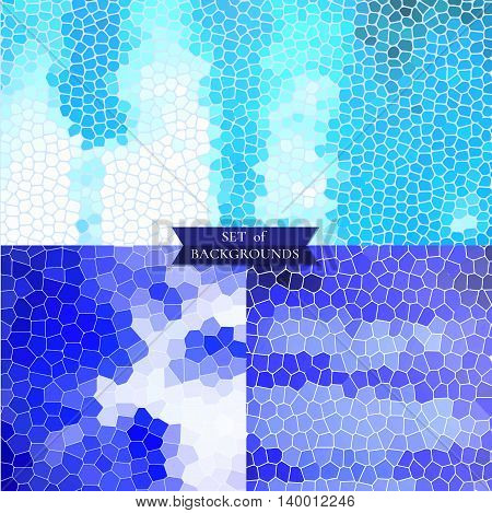 Set of blue backgrounds geometric textures vector
