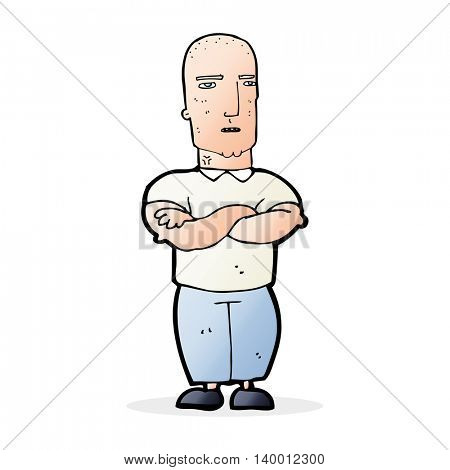 cartoon annoyed bald man