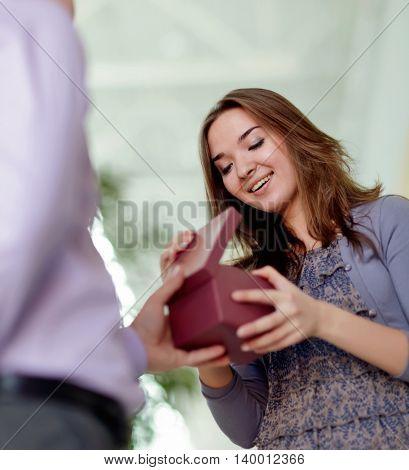 beauty girl take gift from boyfriend