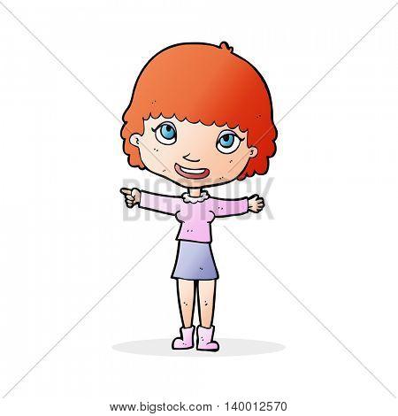 cartoon happy woman pointing