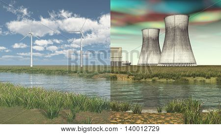 Computer generated 3D illustration with wind turbines and nuclear power plant