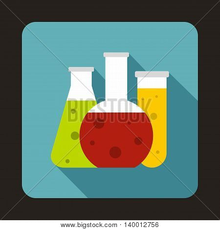 Chemical laboratory flasks icon in flat style on a baby blue background
