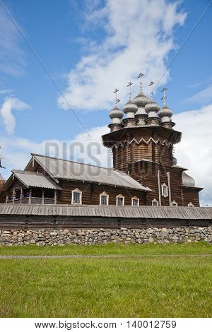 Karelia. Island of Kizhi. View of Church of the Intercession of the Virgin and Preobrazhenskii Cathedral (Church of the Transfiguration).