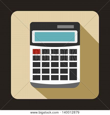 Calculator icon in flat style on a beige background