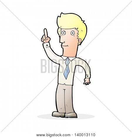cartoon friendly man with idea