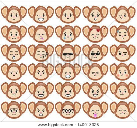 Set of funny monkey emoticons - smiling monkeys with different emotions from happiness to angry isolated on white background. Can be used for logos icons signs avatars web decor other design