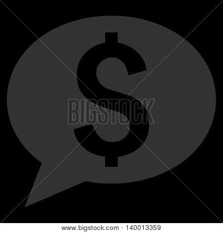 Bank Message vector icon. Style is flat symbol, blue color, black background.