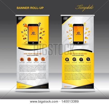 Roll up banner template and Mobile infographics stand display advertisement flyer vector