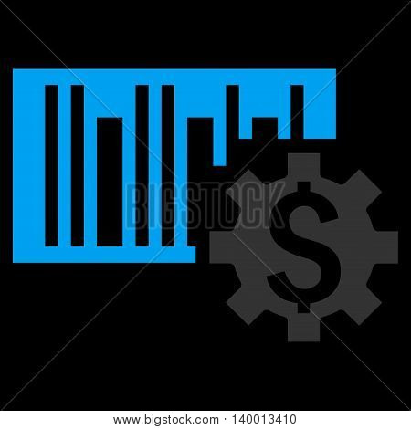 Barcode Price Setup vector icon. Style is flat symbol, blue color, black background.