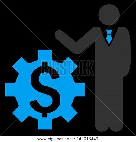 Businessman Options vector icon. Style is flat symbol, blue color, black background.