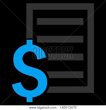 Contract vector icon. Style is flat symbol, blue color, black background.