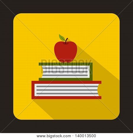 Books with apple icon in flat style on a yellow background