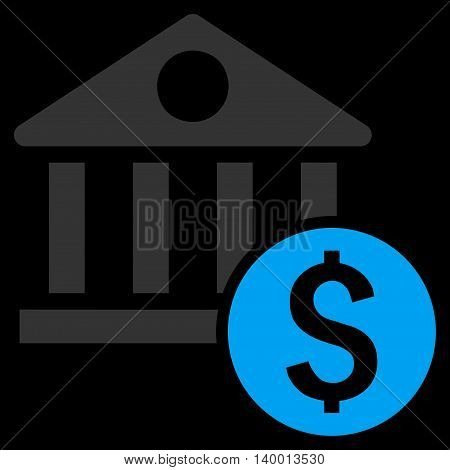 Dollar Bank vector icon. Style is flat symbol, blue color, black background.
