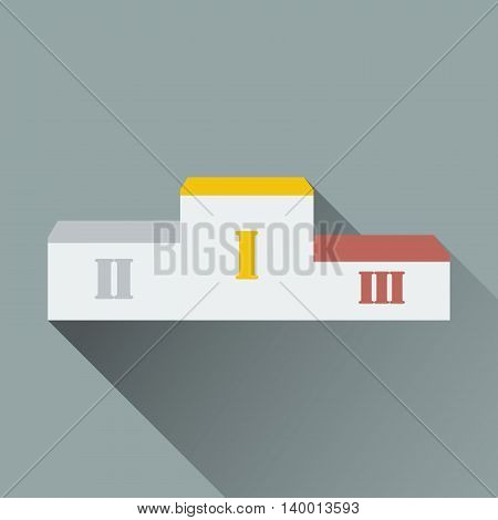 Winners podium with long shadow. Pedestal. Vector illustration