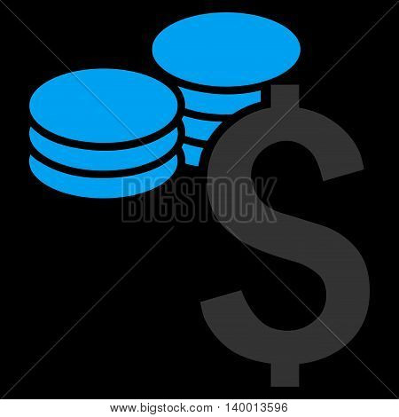 Dollar Coins vector icon. Style is flat symbol, blue color, black background.