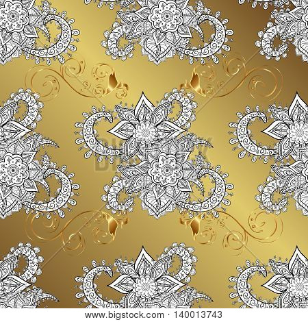 vintage pattern on yellow gradient background with golden elements.