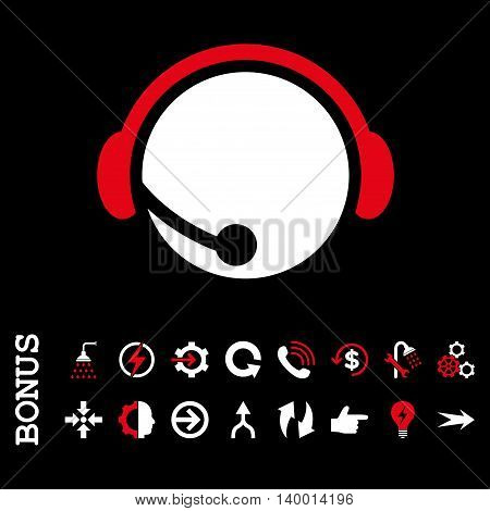Call Center Operator vector bicolor icon. Image style is a flat pictogram symbol, red and white colors, black background.