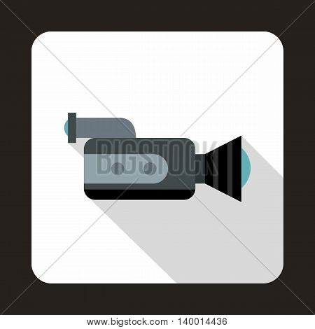 Video camcorder with video cassette icon in flat style on a white background