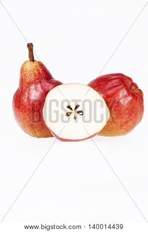 Two and half fruits of red pear isolated on white background.