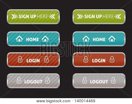 set of web button home, sign up, login and log out
