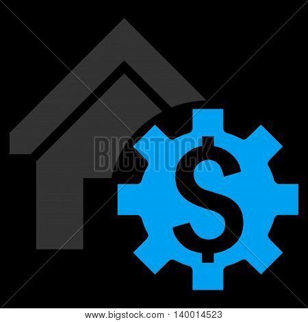 House Rent Options vector icon. Style is flat symbol, blue color, black background.