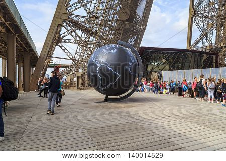 PARIS, FRANCE - MAY 12, 2015: It looks like an art installation on the first floor of the observation deck of the Eiffel Tower.