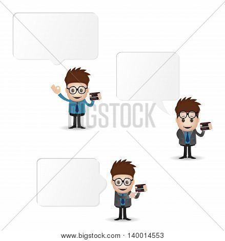 character holding credit card with banner isolated