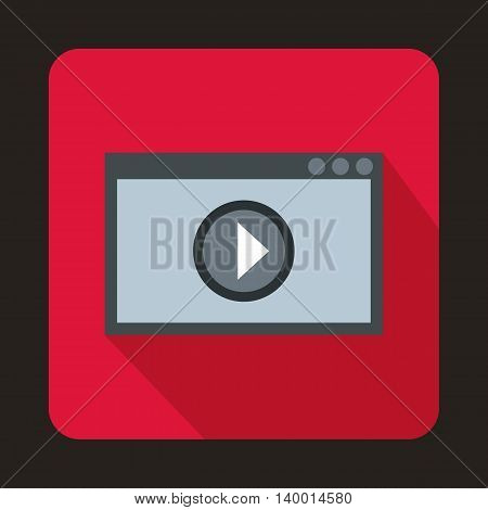 Video movie media player icon in flat style on a crimson background