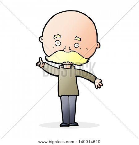 cartoon bald man with idea