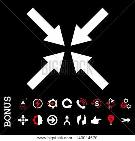 Center Arrows vector bicolor icon. Image style is a flat iconic symbol, red and white colors, black background.