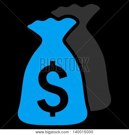 Money Bags vector icon. Style is flat symbol, blue color, black background.