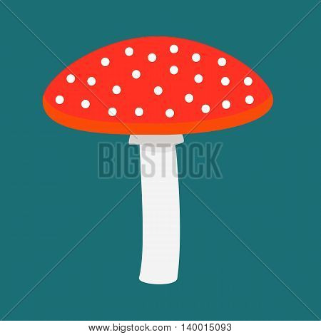Flat icon red mushroom with white spots. Vector illustration.