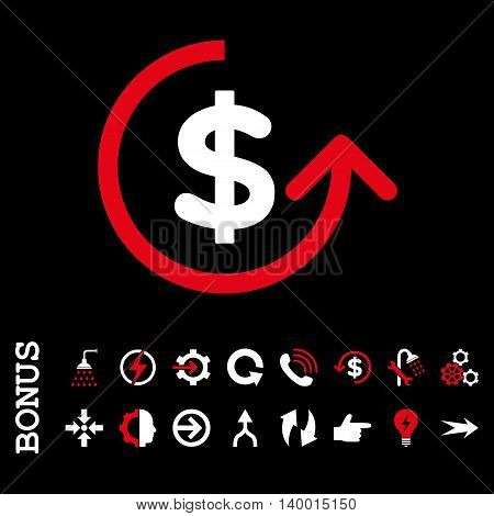 Chargeback vector bicolor icon. Image style is a flat pictogram symbol, red and white colors, black background.