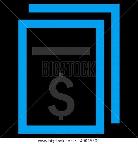 Price Copy vector icon. Style is flat symbol, blue color, black background.