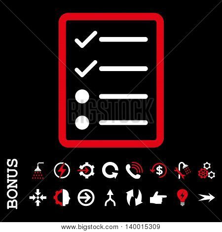Checklist Page vector bicolor icon. Image style is a flat iconic symbol, red and white colors, black background.