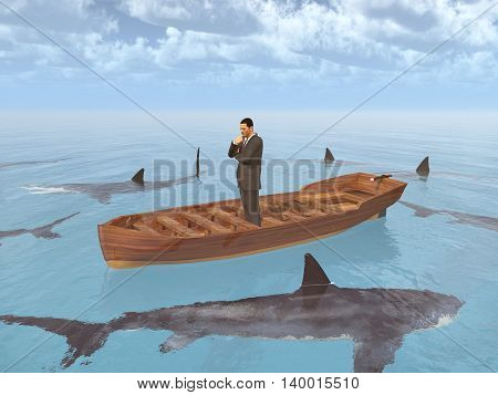 Computer generated 3D illustration with a businessman in a boat surrounded by sharks