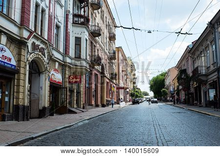Chernivtsi, Ukraine. The streets and the architecture of the old town, old buildings and structures.