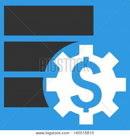 Bank Database Options vector icon. Style is flat symbol, white color, blue background.