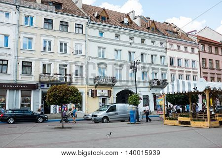 Ivano-Frankivsk, Ukraine. The streets and the architecture of the old town, old buildings and structures.