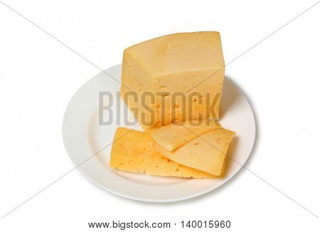 Cheese with plate on white background
