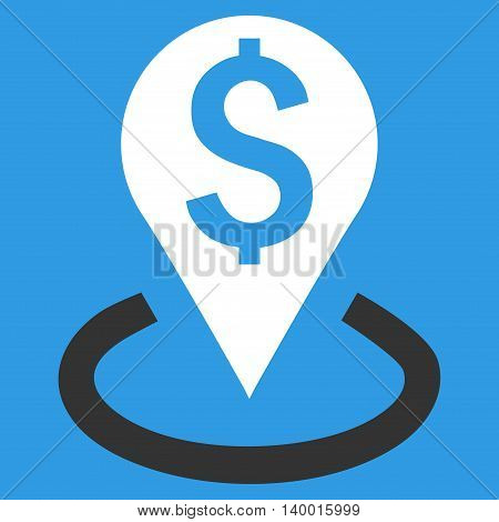 Bank Location vector icon. Style is flat symbol, white color, blue background.