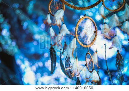 Dreamcatcher Against A White Blur Of Snow