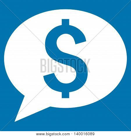 Bank Message vector icon. Style is flat symbol, white color, blue background.