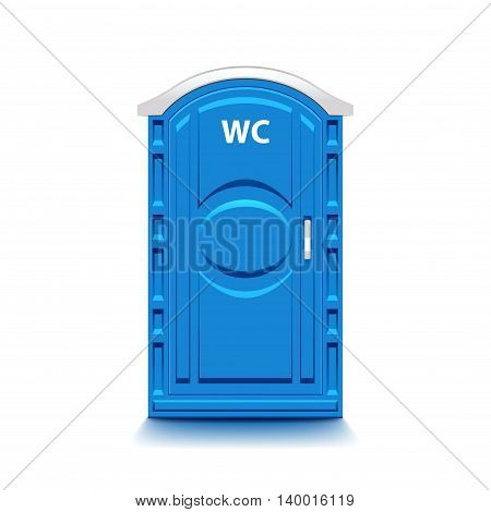 Blue public toilet isolated on white photo-realistic vector illustration