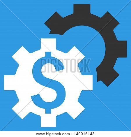 Bank Settings vector icon. Style is flat symbol, white color, blue background.