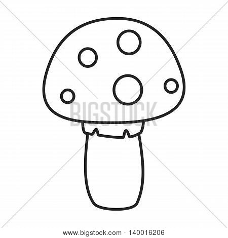 Line icon mushroom with white spots. Vector illustration.
