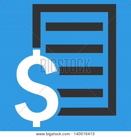 Contract vector icon. Style is flat symbol, white color, blue background.