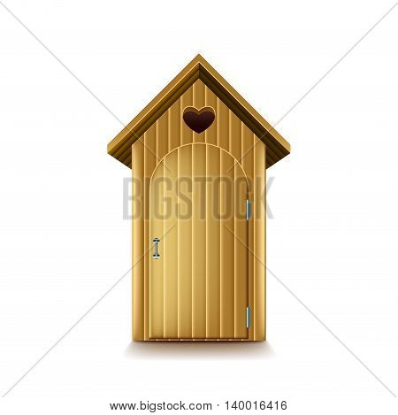Wooden rustic toilet with heart isolated on white vector illustration