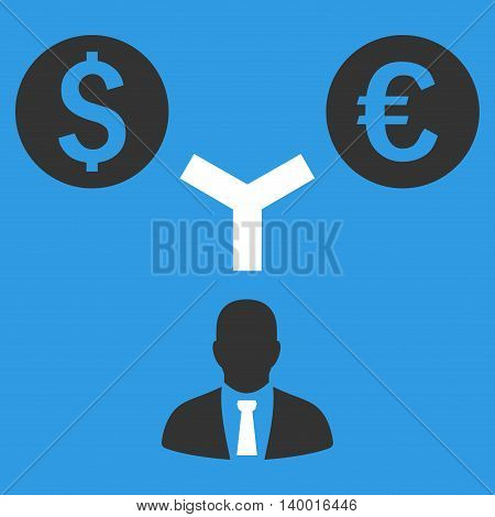 Currency Management vector icon. Style is flat symbol, white color, blue background.
