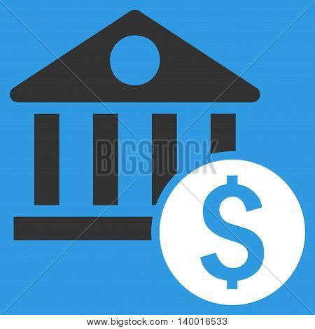 Dollar Bank vector icon. Style is flat symbol, white color, blue background.